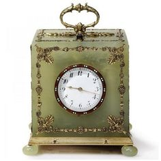 Faberge Bowenite Cube-Form Table Clock