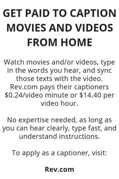 Get Paid To Caption Movies And Videos From Home - Wisdom Lives Here Ways To Earn Money, Earn Money From Home, Earn Money Online, Online Jobs, Money Tips, Way To Make Money, Legit Work From Home, Work From Home Jobs, Work From Home Opportunities