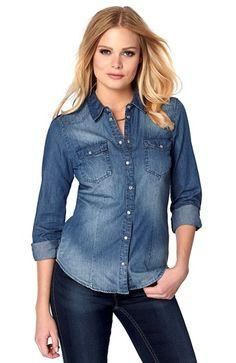 Fede ONLY Jeansskjorte Alwaysrock Bl? denim ONLY Overdele til Dame til enhver anledning