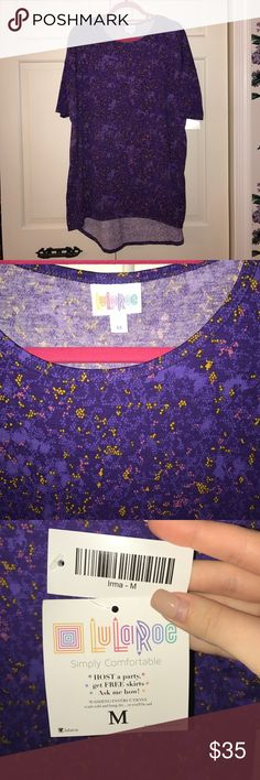 NWT LULAROE IRMA, Size Medium NEW WITH TAGS LULAROE IRMA, Size Medium! Gorgeous digital snack skin pattern--purples, gold, pink--great with black bottoms or make it pop against white bottoms! Super soft, never worn. Originally $35 from LuLaRoe, reselling for $35 (since Poshmark takes a chunk of the profit). Comes from a smoke-free home :) LuLaRoe Tops Tees - Short Sleeve