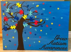 Autism Puzzle Tree Art Painting autism puzzle piece tree painting autism awareness month light it up blue applied behavior analysis Autism Crafts, Puzzle Piece Crafts, Puzzle Pieces, Is My Child Autistic, Children With Autism, Children Toys, Projects For Kids, School, Manualidades