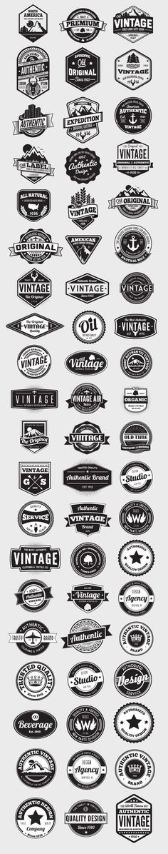 Having a good selection of vectors on hand is essential for any designer. This ultimate collection of 60 vector badges and logos is an incredible assortment of vintage styled elements. Each graphic...: