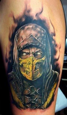 Mortal Kombat Scorpion tattoo by Emil! Limited availability at Revival Tattoo Studio.