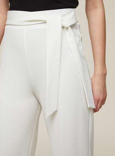 Ivory Tie Front Crop Trousers - Miss Selfridge