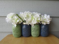 Painted and Distressed Ball Mason Jars Navy by theretroredhead, $28.00