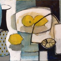 Ray Sheldon I found out about Ray Sheldon's work only very recently, by serendipitously skipping from one website to another. I especially like the contrast of the bluish-grey and the bright lemon yellows in this painting. Painting Still Life, Paintings I Love, Still Life Artists, Fruit Painting, Guache, Oeuvre D'art, Figurative Art, Painting & Drawing, Pastel Drawing