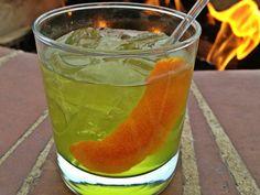 """Old Irishman"" 2 ounces Bushmills Irish whiskey, 3 dashes Orange Bitters, 1/2 ounce Simple Syrup, Splash of Midori, Orange Peel. (Bar 19, Four Seasons Resort & Club Dallas)"