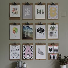 Hang a grid of simple clipboards and you're ready to create an ever-changing gallery of prints, postcards and kids' art