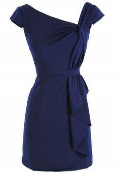 12 Days oh Holiday Dresses - Navy Minuet Capsleeve Twist Dress