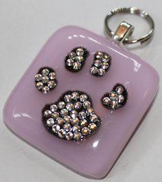 Swarovski Crystal Dog Paw ID Dog Tag/Pendant Customize-able. $9.00, via Etsy.