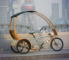 Can this electric powered bamboo tricycle provide solutions to traffic congestion and air pollution in China? Tricycle Bike, Trike Bicycle, Velo Design, Bicycle Design, Electric Tricycle, Electric Cars, Electric Cycles, Bike Cart, Velo Cargo