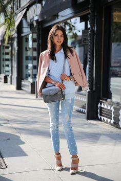 periwinkle Gap jeans - light blue Gap sweater - light pink Gap blazer
