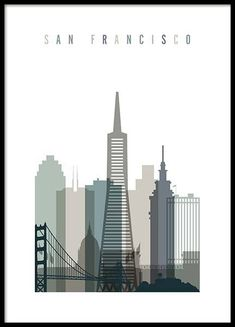 San Francisco Skyline Poster in der Gruppe Prints / Maps & cities bei Desenio AB (. Dia San Francisco, Carte New York, Ponte Golden Gate, Arte Punk, Tokyo Skyline, Paris Skyline, Desenio Posters, Gold Poster, Vintage Travel Posters
