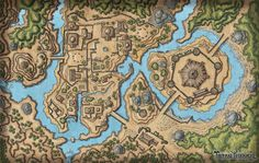 Fantasy City Map, Fantasy Town, Fantasy World Map, Forest Village, Village Map, Dnd World Map, Pen & Paper, Rpg Map, Dragon Rpg