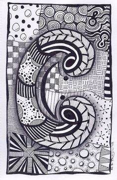 Zentangle Letter C ZebrA Letters name bunting by ForeverTangles