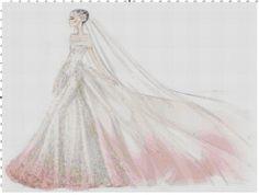 Pink wedding dress cross stitch pattern PDF by Bluegiantstitch, £2.40
