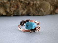 Copper Turquoise Ring Hammered Copper Wire Wrapped Ring Aqua Gemstone Southwest Style Stone Jewelry Earthy Boho Ring Metalwork Jewelry