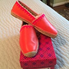 "Tory Burch ""Myra"" leather espadrilles Orange leather with pink trim. Never worn. Tory Burch Shoes"