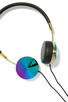 These insanely awesome black leather headphones feature oil slick detailing, gold hardware and memory foam earpads.