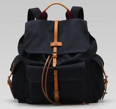 Gucci Cotton Rucksack Backpack Navy