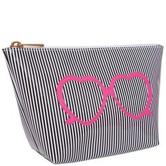 Medium Avery Case in Black Stripe with Pink Heart Shaped Glasses by Lolo