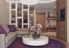 Természetes fa és szép lila árnyalatok harmóniája egy fiatal pár kétszobás lakásában