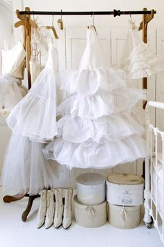 white frilly petticoats and Victorian wedding boots