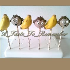 Monkey cake pops and banana cake pops by A Taste To Remember