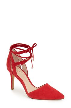 Sinuous, wraparound ankle ties amp up the allure of this scene-stealing stiletto pump in red with a pointy toe.