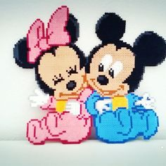 Minnie and Mickey Mouse hama beads by jessyhernaiz