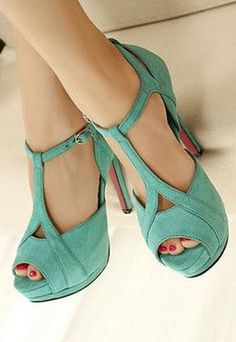 Three of my favorite things all in one shoe: turquoise, t-strap, and peep toe!