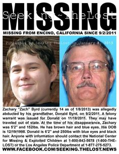 1/8/2013: Kidnapped Boy: Please share to locate Zachary Byrd (14) kidnapped on 9/2/2011 from Encino... pinned with Pinvolve