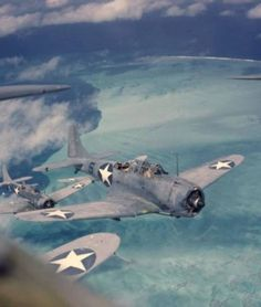World War Two formation. Dauntless Dive Bomber.
