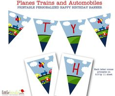TRANSPORTATION Bunting Banner Printable - Birthday or Baby shower Plane Train and Car Automobiles. Printable file on Etsy, $15.00