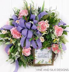 Spring wreath for front door, Pink wreath for front door, Wreath with pink roses, Pink rose wreath, Front door wreath for Spring by VineAndSilkDesigns on Etsy Front Door Decor, Wreaths For Front Door, Door Wreaths, Grapevine Wreath, Front Porch, Front Entry, Lavender Wreath, Pink Wreath, Photo Wreath