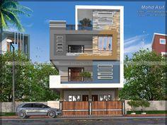 Indian House Exterior Design, Modern Exterior House Designs, Modern Architecture House, Modern House Design, 3 Storey House Design, House Front Design, Small House Design, Front Elevation Designs, House Elevation