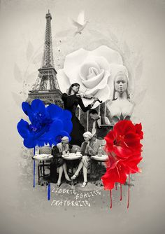 Kaspaïart Graphic Design Liberté Chérie poster France Paris Eiffel Tower bleu blanc rouge Marianne