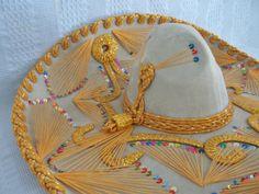 Mexican Sombrero hat vintage sobraro bone white by GraceYourNest