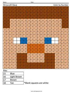 Free Printable Minecraft Color By Number 100s Charts