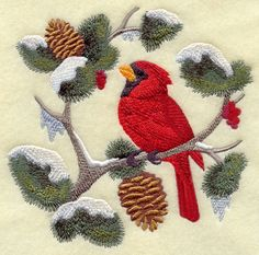 Cardinal in Berries and Boughs Square Machine Embroidered Quilt Block Usaemb | eBay