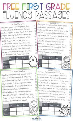FREE 1st Grade Fluency Passages