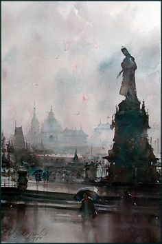 dusan-djukaric-praque-rainy-day-watercolor-36x55-cm