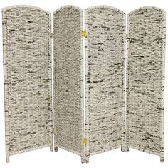 Oriental Furniture 4 ft. Tall Recycled Newspaper Room Divider - 4 Panel, Gray