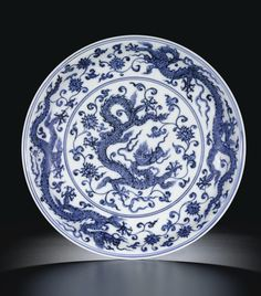 "A Magnificent Blue and White ""Dragon"" Dish. Mark and Period of Xuande Chinese Culture, Chinese Art, Blue And White Dinnerware, Antique Collectors, Vintage Tableware, Blue And White China, White Dragon, Chinese Ceramics, China Painting"
