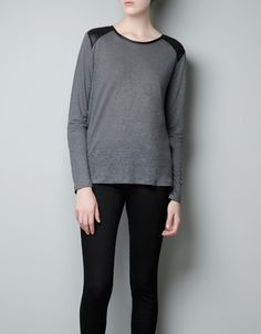 T-SHIRT WITH SHOULDER PATCHES - ZARA