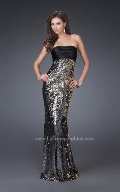 2153b6613b7 La Femme Unique Black and Silver Sequin Evening Dress 16869