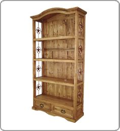 Iron Bookcase | ... Drawers Bookcase w/ wrought iron stars-rustic western office bookcase woodstradingcompany.com