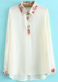 White Lapel Long Sleeve Floral Dipped Hem Blouse EUR€15.70