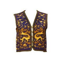 Purple and Gold Dragon... 1960s Saint Laurent Rive Gauche Dragon Print Vest  | From a collection of rare vintage jackets at https://www.1stdibs.com/fashion/clothing/jackets/