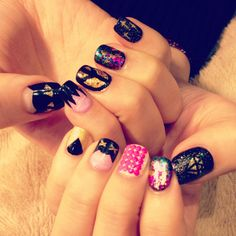 Neon studs nails.